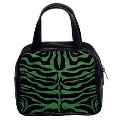 Skin2 Black Marble & Green Denim (r) Classic Handbags (2 Sides) by trendistuff