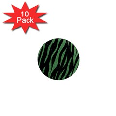 Skin3 Black Marble & Green Denim (r) 1  Mini Magnet (10 Pack)