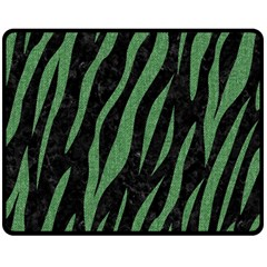 Skin3 Black Marble & Green Denim (r) Double Sided Fleece Blanket (medium)  by trendistuff
