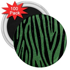 Skin4 Black Marble & Green Denim (r) 3  Magnets (100 Pack) by trendistuff