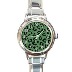 Skin5 Black Marble & Green Denim (r) Round Italian Charm Watch by trendistuff