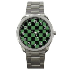 Square1 Black Marble & Green Denim Sport Metal Watch by trendistuff