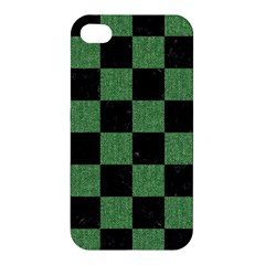 Square1 Black Marble & Green Denim Apple Iphone 4/4s Premium Hardshell Case by trendistuff