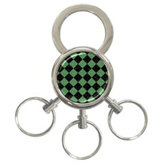 Square2 Black Marble & Green Denim 3 Ring Key Chains by trendistuff