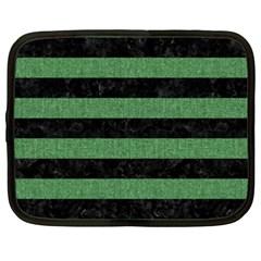 Stripes2 Black Marble & Green Denim Netbook Case (xxl)  by trendistuff