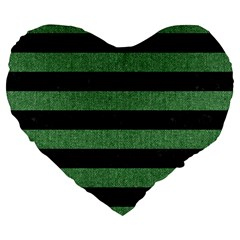Stripes2 Black Marble & Green Denim Large 19  Premium Flano Heart Shape Cushions by trendistuff