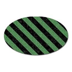 Stripes3 Black Marble & Green Denim Oval Magnet by trendistuff