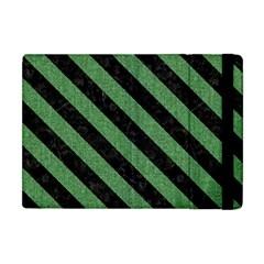 Stripes3 Black Marble & Green Denim Apple Ipad Mini Flip Case by trendistuff