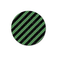 Stripes3 Black Marble & Green Denim (r) Magnet 3  (round) by trendistuff