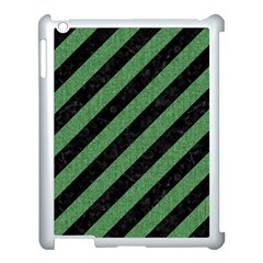 Stripes3 Black Marble & Green Denim (r) Apple Ipad 3/4 Case (white) by trendistuff