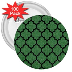 Tile1 Black Marble & Green Denim 3  Buttons (100 Pack)  by trendistuff