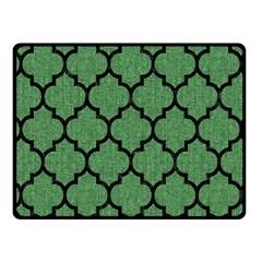 Tile1 Black Marble & Green Denim Fleece Blanket (small)