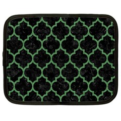 Tile1 Black Marble & Green Denim (r) Netbook Case (xl)  by trendistuff