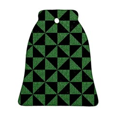 Triangle1 Black Marble & Green Denim Bell Ornament (two Sides) by trendistuff