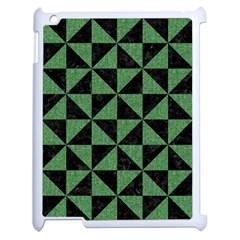 Triangle1 Black Marble & Green Denim Apple Ipad 2 Case (white) by trendistuff