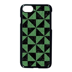 Triangle1 Black Marble & Green Denim Apple Iphone 8 Seamless Case (black) by trendistuff