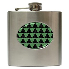Triangle2 Black Marble & Green Denim Hip Flask (6 Oz) by trendistuff