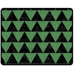 Triangle2 Black Marble & Green Denim Fleece Blanket (medium)  by trendistuff