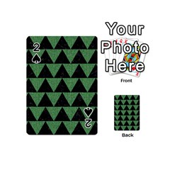 Triangle2 Black Marble & Green Denim Playing Cards 54 (mini)  by trendistuff