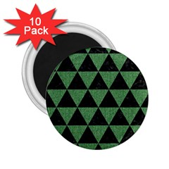 Triangle3 Black Marble & Green Denim 2 25  Magnets (10 Pack)  by trendistuff