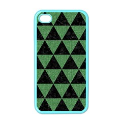 Triangle3 Black Marble & Green Denim Apple Iphone 4 Case (color) by trendistuff