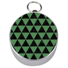 Triangle3 Black Marble & Green Denim Silver Compasses by trendistuff