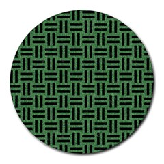 Woven1 Black Marble & Green Denim Round Mousepads by trendistuff