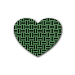 Woven1 Black Marble & Green Denim Heart Coaster (4 Pack)  by trendistuff