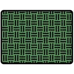 Woven1 Black Marble & Green Denim Fleece Blanket (large)