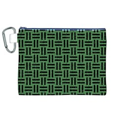 Woven1 Black Marble & Green Denim Canvas Cosmetic Bag (xl) by trendistuff