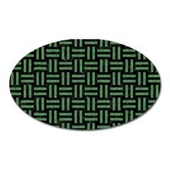 Woven1 Black Marble & Green Denim (r) Oval Magnet by trendistuff