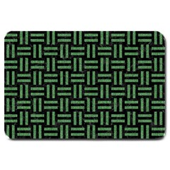 Woven1 Black Marble & Green Denim (r) Large Doormat  by trendistuff