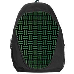Woven1 Black Marble & Green Denim (r) Backpack Bag by trendistuff