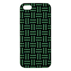 Woven1 Black Marble & Green Denim (r) Iphone 5s/ Se Premium Hardshell Case by trendistuff