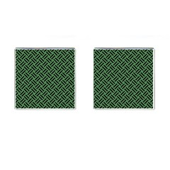 Woven2 Black Marble & Green Denim Cufflinks (square) by trendistuff