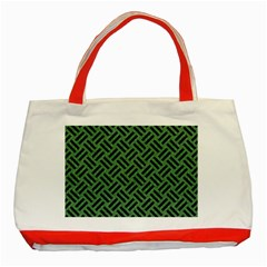 Woven2 Black Marble & Green Denim Classic Tote Bag (red) by trendistuff