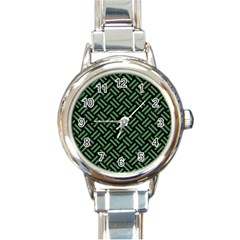 Woven2 Black Marble & Green Denim (r) Round Italian Charm Watch by trendistuff