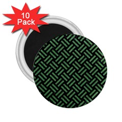 Woven2 Black Marble & Green Denim (r) 2 25  Magnets (10 Pack)  by trendistuff
