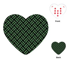 Woven2 Black Marble & Green Denim (r) Playing Cards (heart)  by trendistuff