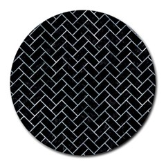 Brick2 Black Marble & Ice Crystals (r) Round Mousepads by trendistuff