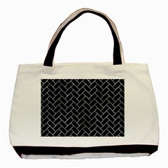 Brick2 Black Marble & Ice Crystals (r) Basic Tote Bag (two Sides) by trendistuff