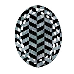 Chevron1 Black Marble & Ice Crystals Ornament (oval Filigree) by trendistuff