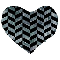 Chevron1 Black Marble & Ice Crystals Large 19  Premium Flano Heart Shape Cushions by trendistuff