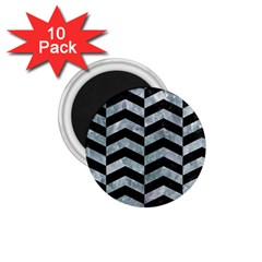 Chevron2 Black Marble & Ice Crystals 1 75  Magnets (10 Pack)  by trendistuff