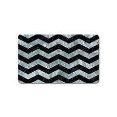 Chevron3 Black Marble & Ice Crystals Magnet (name Card) by trendistuff