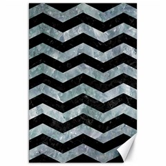 Chevron3 Black Marble & Ice Crystals Canvas 20  X 30   by trendistuff