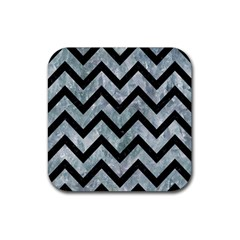 Chevron9 Black Marble & Ice Crystals Rubber Square Coaster (4 Pack)  by trendistuff