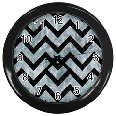 Chevron9 Black Marble & Ice Crystals Wall Clocks (black) by trendistuff
