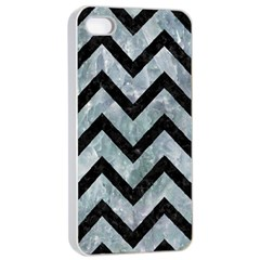 Chevron9 Black Marble & Ice Crystals Apple Iphone 4/4s Seamless Case (white) by trendistuff