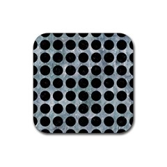Circles1 Black Marble & Ice Crystals Rubber Square Coaster (4 Pack)  by trendistuff